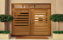Glass Hinged Solid wood Safety Door