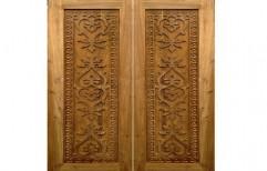 Hinged Carved Wooden Door