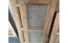 Brown Wooden Mesh Window