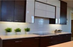 PVC Membrane Wooden Decorative Straight Modular Kitchen, Warranty: 1-5 Years