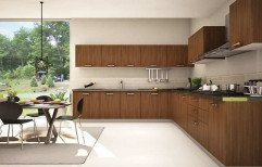 L Shaped Modular Kitchen by Green Wall Constructions & Interior