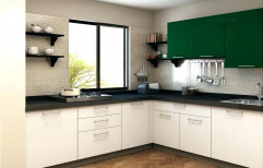 L-Shaped Modular Kitchen by Koushika Interiors