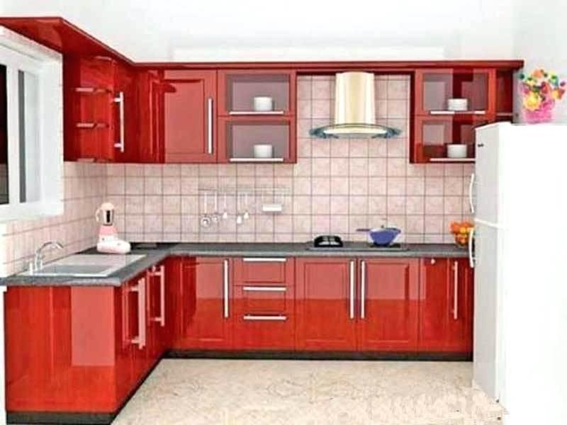 red l shape modular kitchennss woodworks  furnitures