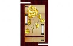 Golden Flower Printed Digital PVC Door        by Unex Profiles