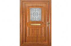 Brown Hinged Teak Wood Carving Door