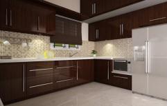 Wooden Modular Kitchen by Glass Angels