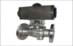 3 Pc Ball Valve with Pneumatic Rotary Actuator by Hindustan Hydraulics & Pneumatics