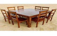 Square wooden Dining Table by Akshaya Wood Interiors