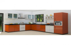 L Shape Modular Kitchen by Glass Angels