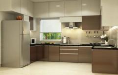U Shape Wooden Modular Kitchen by Elgee Windoors