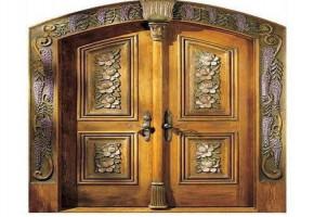 African Teak Wood Double Door