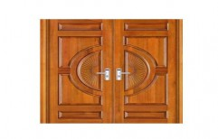 Rectangular Brown Teak Wood Carving Door