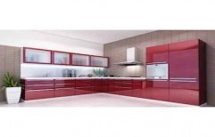 L Shaped Modular Kitchen by Arun Allumium Window & Glass Works