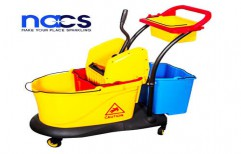 Three Bucket Mop Wringer Trolley by NACS India