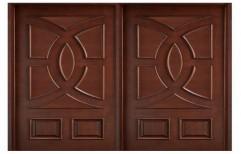 Swastik Teak Wood Double Panel Rectangular Door