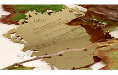 Golden Mirror Acrylic Wedding Invitation Sheet by Sun Acrylam Private Limited