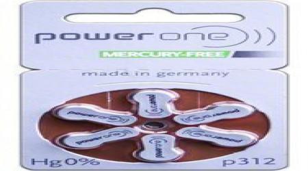 Power One Mercury Free Hearing Aid Batteries Size 312 by Shri Ganpati Sales