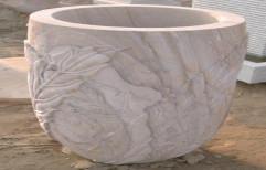 White Stone Flower Pot by Priyanka Construction