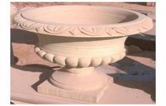 Carved Sandstone Pot by Priyanka Construction