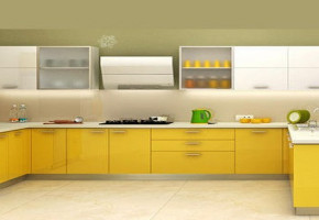 Yellow Colour Modular Kitchen by Baba Ji Plywood & Hardware