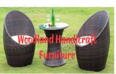 Brown Nest Model Wicker 4 Chair Table Set