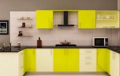 COMMERCIAL PLY/HDMR U Shape GLOSSY/ACRYLIC SHUTTER Home Modular Kitchen, Warranty: 1-5 Years