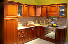 Khasva Interiors Brown Wooden Kitchen Cupboard