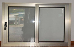Silver Polished Aluminium Section Double Door Window