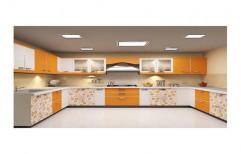 U Shaped Printed Modular Kitchen