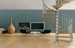 Glossy And Matte Floating Stainless steel Spiral Staircase, For Home