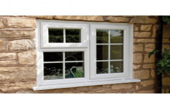 White Residential UPVC Framing Casement Windows, Thickness of Glass: 5-6 Mm