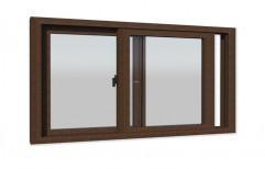 Brown Powder Coating Walnut Colour Sliding UPVC Windows, Thickness Of Glass: 5-mm