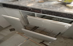 Silver Stainless Steel Wooden Modular Kitchen Cabinet