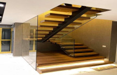 Transparent,black Mild steel and stainless steel Custom Made Staircases