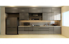 Wooden Straight Acrylic Modular Kitchen