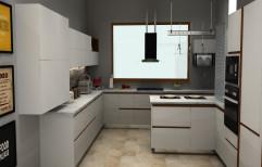 Wooden U Shape Italian kitchen cabinet, Warranty: 10-15 Years