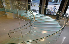 Coated with hardware Modern Glass Staircase, For Residential