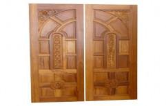 Exterior Hinged Teak Wood Double Door