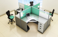Pre Laminated Board Rectangular Modular Office Furniture, For Corporate Offices, Size: 4 Seater
