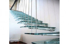 Ss And Glass Toughened Glass Staircase, For Residential And Commercial