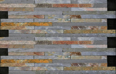 Multicolor Slate Wall Cladding Stone Panels For Exterior & Interior Wall, Thickness: 10-15 Mm, Size: 60x15cm