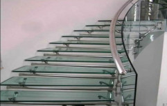 Rectangle Transparent Glass Staircase, for Commercial and Residential