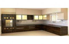 Wooden L Shape Designer Modular Kitchen, Warranty: 1-5 Years