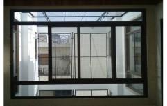 Eternia Brown Aluminium Fix Portion Window, For Home, Size/Dimension: 7 X 8 Feet
