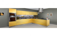 Gloss L Shape Wooden Kitchen