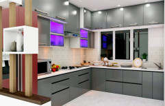 L Shape Modern Laminated Wooden Modular Kitchen