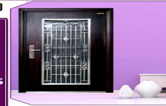 Metal wooden finished Entrance Steel Double Door PGD 1(with door frame), Brown, Thickness: 70 Mm