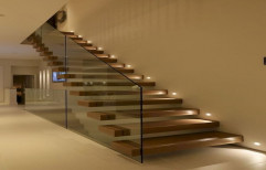 Redoxside Mild Steel Floating staircase / Cantilevel Staircase for Banglows & Office, Material Grade: Metal Plate