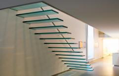 Straight Run Stylish Glass Staircase