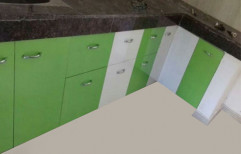 White And Green Wooden Modular Kitchen Cabinet